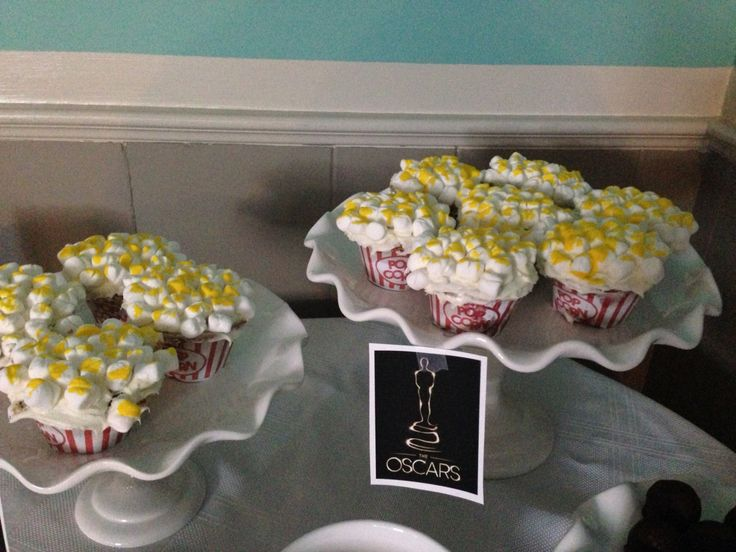 Popcorn cupcakes for Oscar Party 2014