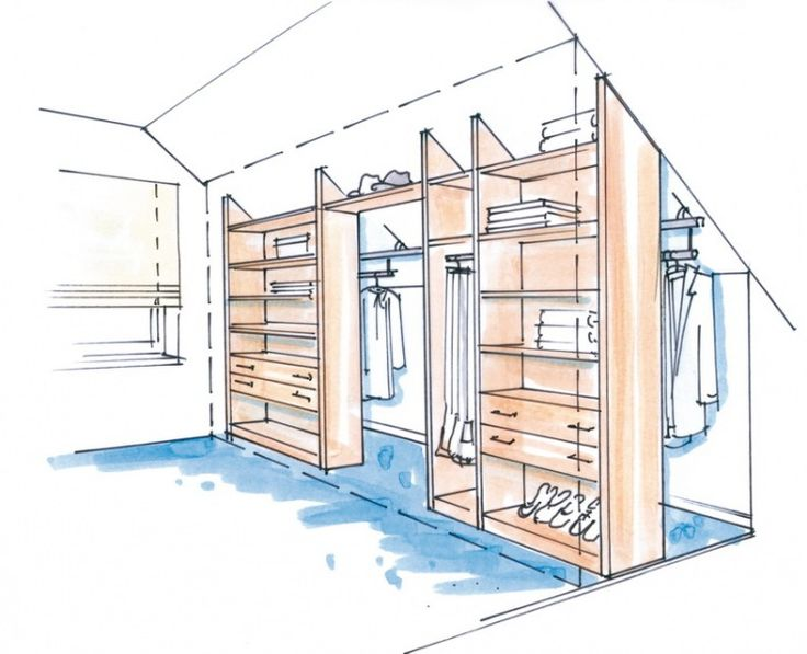 dressglider - Dachschräge...love this idea. the clothes rack slides from side to side for easy access with maximum storage possibility. perhaps put a sliding barn door (?) at the front to cover door and hide any mess behind and slide when need access to enter the area...