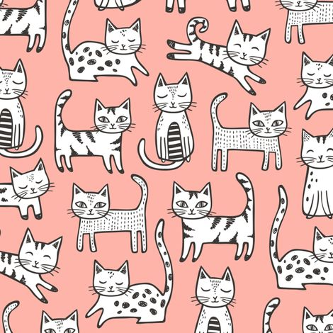 Cats with Black&White Stripes on Peach fabric by caja_design on Spoonflower - custom fabric