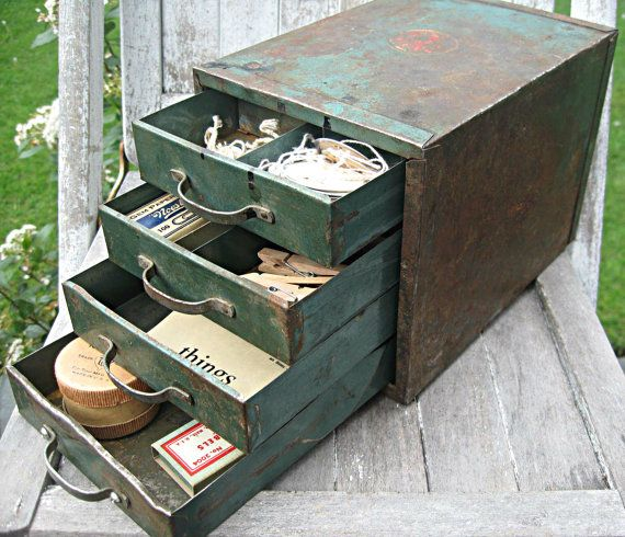 Vintage industrial metal storage cabinet, smaller size with divided drawers