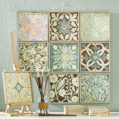 scrapbook paper and dollar store frames. Why can't I think of this stuff? - Click image to find more DIY & Crafts Pinterest pins