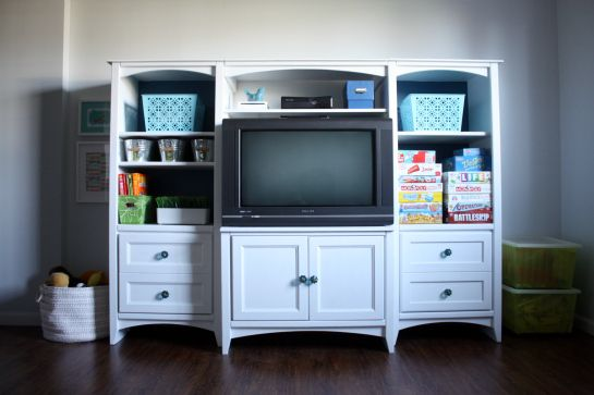 Love this and with patiences, it took her over a week, you can have great stuff. IHeart Organizing: Our Painted Entertainment Center Reveal and How To!
