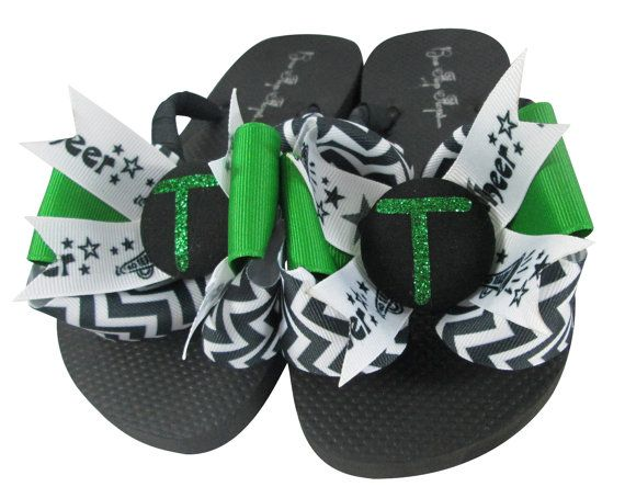 Chevron Glitter Personalized Cheer Flip Flops- Any Sport- Choose Colors and Team Name- Bow Flip Flop Sandals Girls Ladies Green Black by BowFlipFlops
