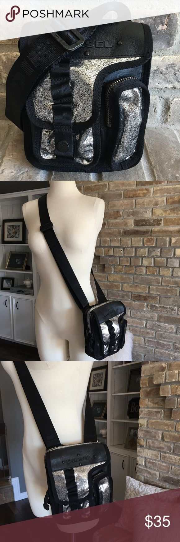 Diesel purse Black and silver side satchel bag. Tons of space and compartments inside! Super cute and a perfect traveling purse. Diesel Bags