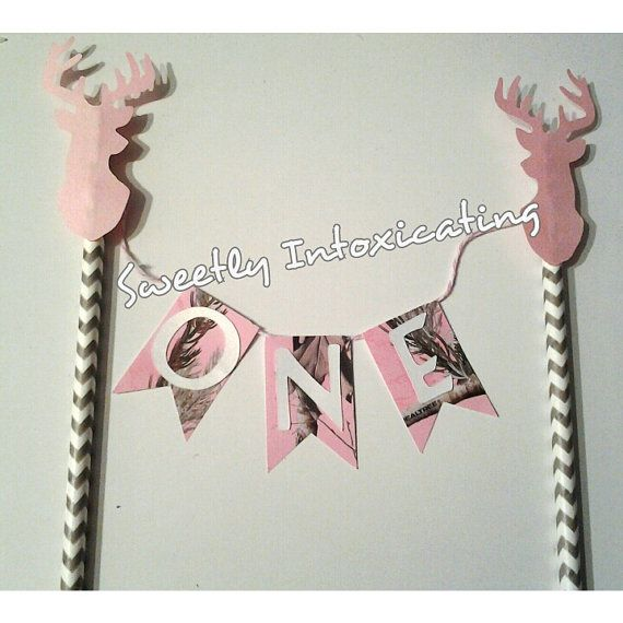 FREE SHIPPING Pink Camo hunting Deer ONE cake bunting. Deer theme, real tree, pink camo cake decor, pink camo hunting first birthday