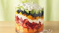 Layered Summer Fruits with Creamy Lime DressingSummer Fruits, Fruitsalad, Dressing Recipes, Trifles, Fruit Salads, Cream Cheese, Food, Fruit Trifle, Fresh Fruit