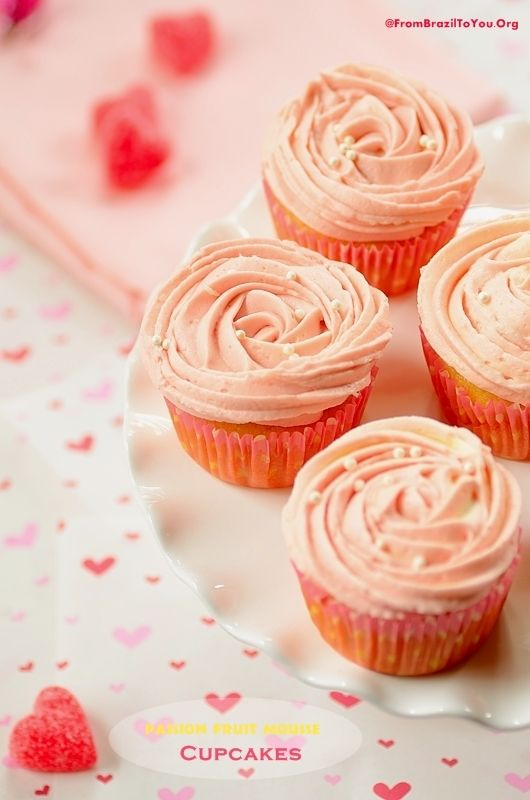 Aphrodisiac and Romantic Passion Fruit Mousse Cupcakes with Vanilla Buttercream Roses...Happy Valentine's Day!!! | From Brazil To You