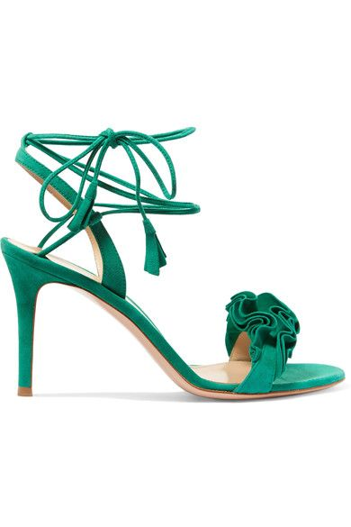 Gianvito Rossi - Ruffled Suede Sandals - Green - IT