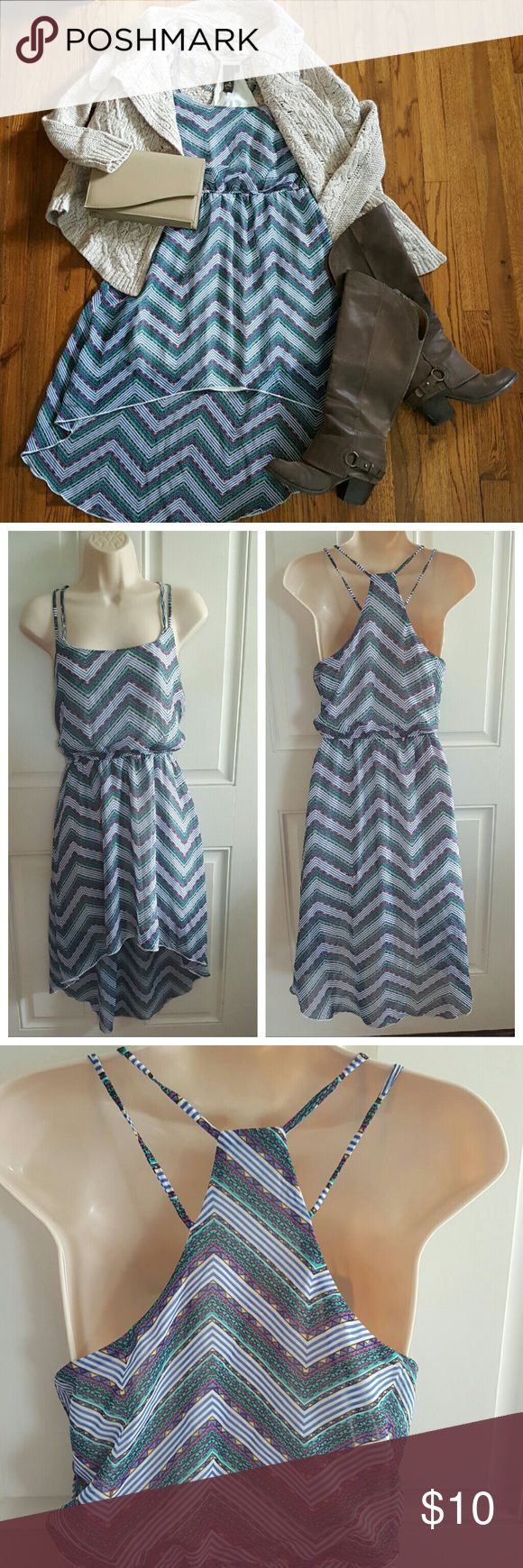"TRIXXI Multi-Color Chevron Print Hi-Lo Hem Dress Blouson waist. Strappy back. Fully lined. 100% polyester. Excellent Pre-Loved Condition   Bust 18"", Length 31"" front 40"" back Trixxi Dresses"