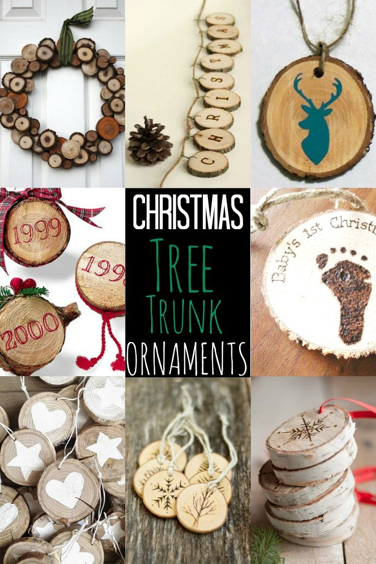 Preserve your REAL Christmas tree forever by slicing the trunk base to create Christmas tree trunk ornaments, wreath, bunting & commemorate baby's first year