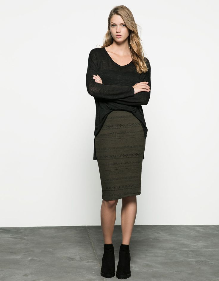 jacquard midi skirt. Discover this and many more items in Bershka with new products every week