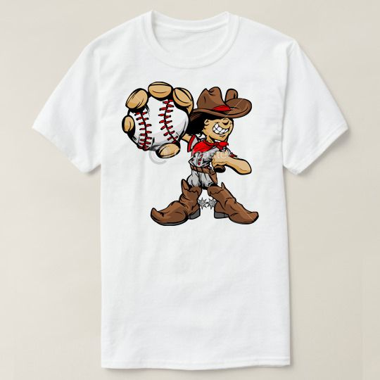 Cartoon Cowboy Kid Baseball Player Custom Shirts