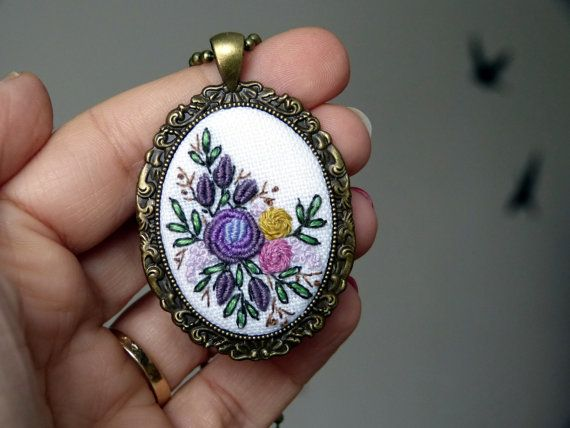 Embroidered roses necklace Pendant Cameo Purple aubergine