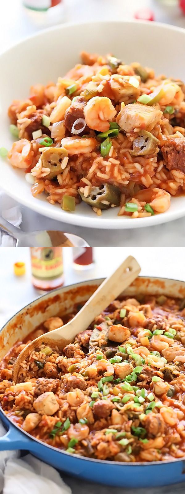 Chicken, Sausage and Shrimp Jambalaya for a one-pot meal that's on the table in under an hour   foodiecrush.com