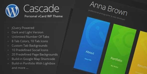 Download and review of Cascade - Personal vCard WordPress Theme, one of the best Themeforest Creatives themes