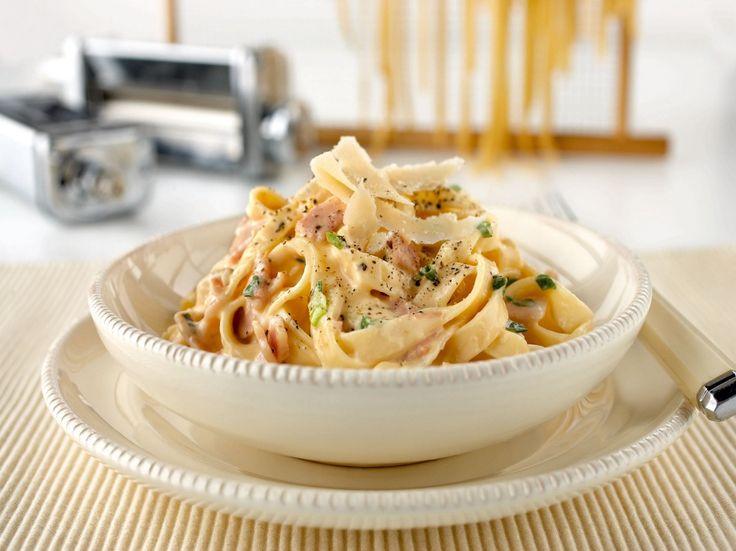 Fettuccine Alla Carbonara ~ ribbon noodles with egg, bacon, & cheese in cream sauce   recipe by KitchenAid Australia via My Food Book