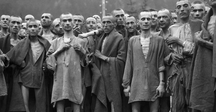 Emaciated survivors of one of the largest Nazi concentration death camps, at Ebensee, Austria, entered by the 80th division, U.S. Third army on May 7, 1945.