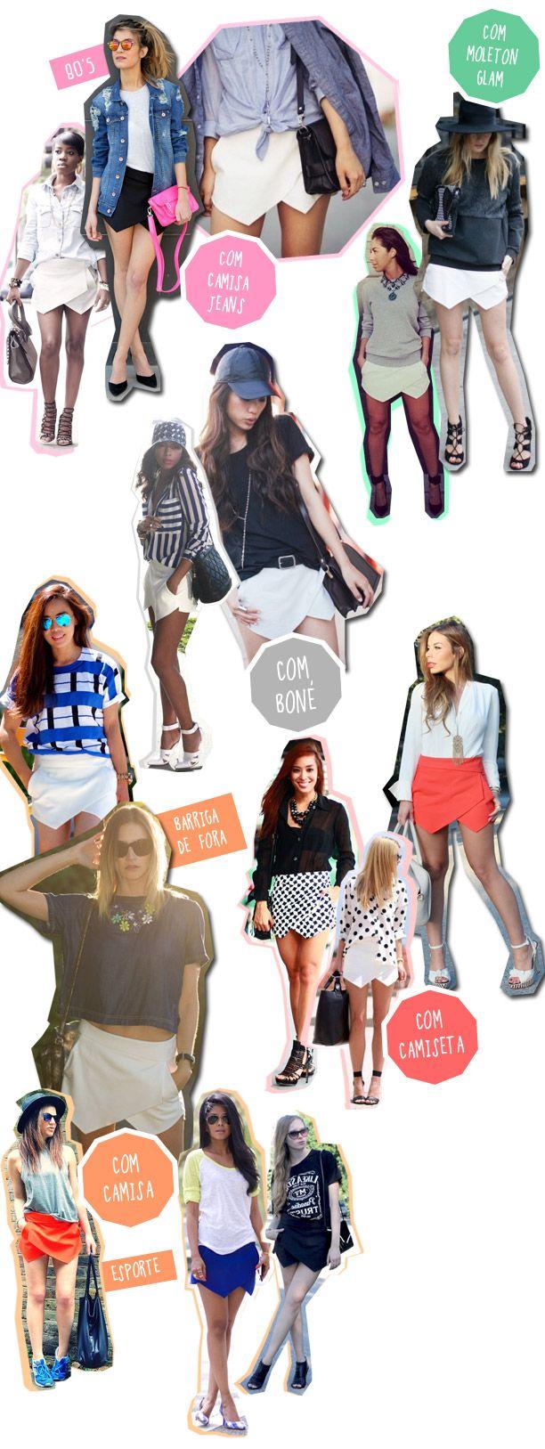 Várias ideias para usar as saias assimétricas :) pine agora, leia depois!