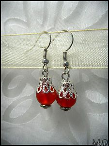 Remode Silver Vintage Frosted Red Glass Bead Short Dangle Earrings OOAK Upcycled | eBay