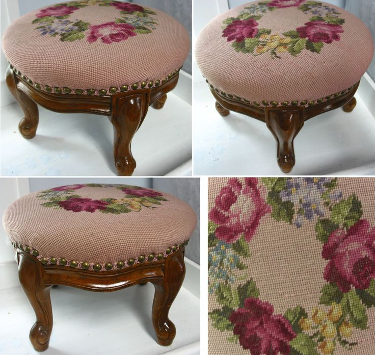 BEAUTIFUL ,ANTIQUE NEEDLEPOINT CARVED FOOTSTOOL/ FOOT STOOL ,PINK,ROUNF FLORA #Victorian