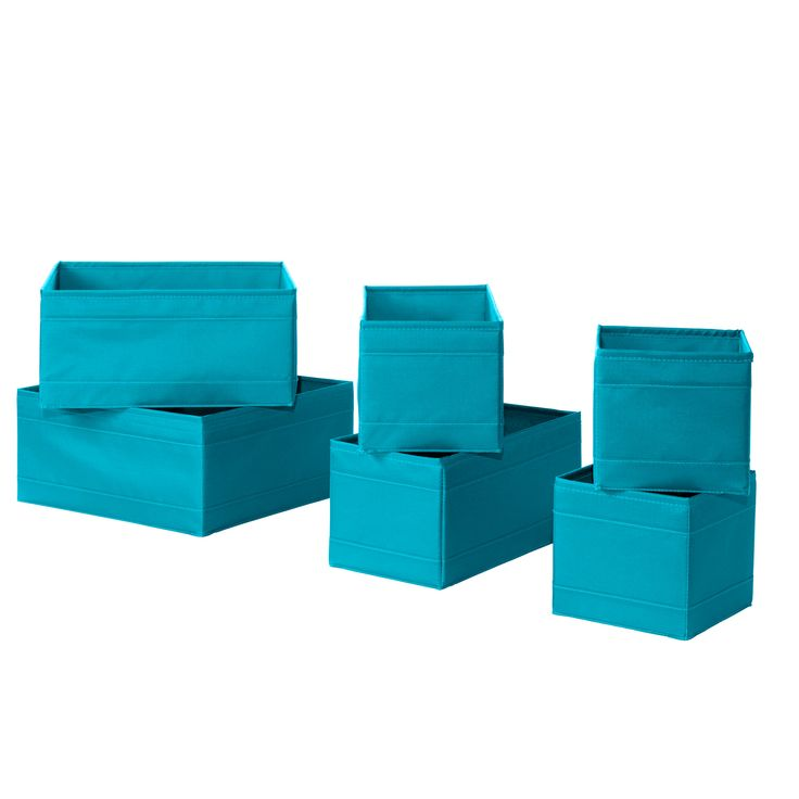 SKUBB Box, set of 6 - turquoise - IKEA