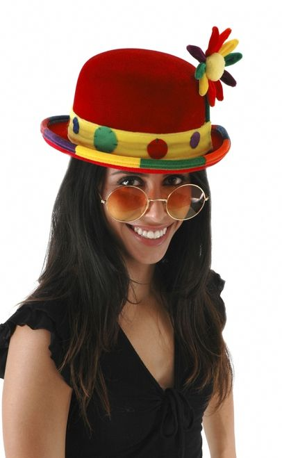 Funny Clown Bowler Costume Hat - Be the coolest clown ever with this flowered red velvet clown bowler hat.This is a red velvet bowler style hat with a multicolored brim. It also features a yellow velvet hat band with different colored felt dots stitched on, and a green velvet stem attached to the side with a multicolored velvet flower on top that has a yellow puff center. #halloween #clown #hat #yyc #costume