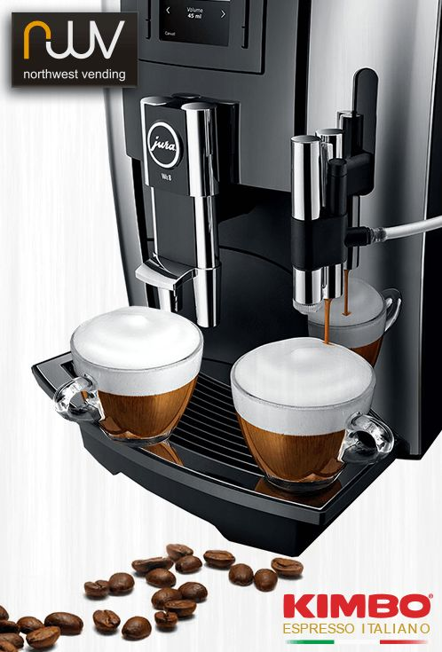 Jura WE8 makes great speciality coffees, especially with Kimbo Extra Cream espresso beans with steamed milk & milk foam. #JuraWE8, #vending, #welovekimbo, #kimbo, #Beantocup, #NorthWestVending, #Espresso