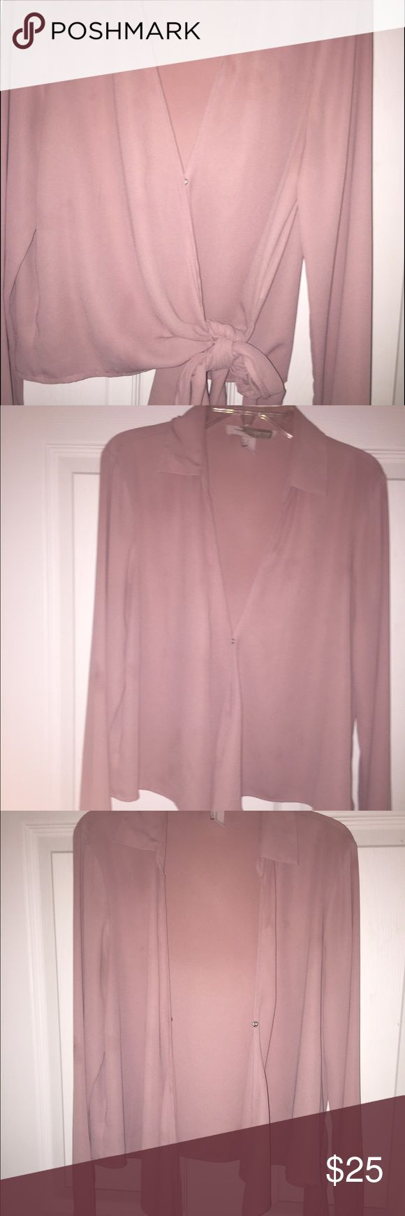 Pink blouse with a bow Cute with extra fabric to tie a bow. Price negotiable, make an offer! Forever 21 Tops Blouses
