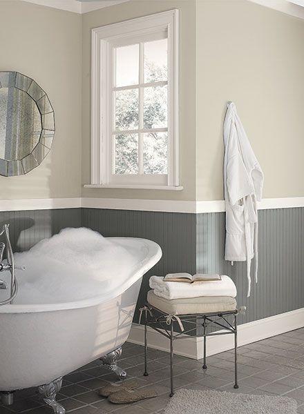 Benjamin Moore colors Elmira White HC-84 (upper walls) & Whale Gray 2134-40 (lower walls). Trim BM White Dove OC-17