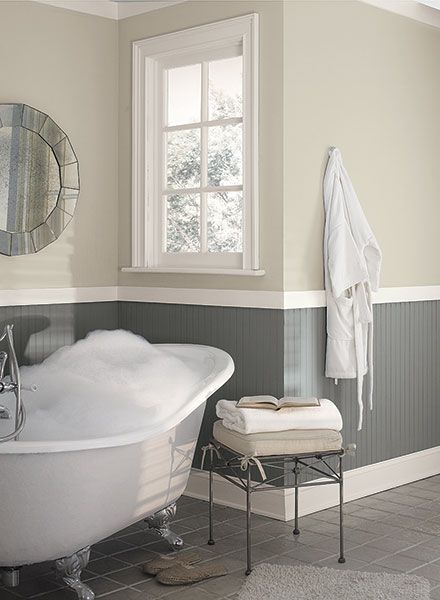 17 best images about two tone walls on pinterest paint for Gray bathroom pictures
