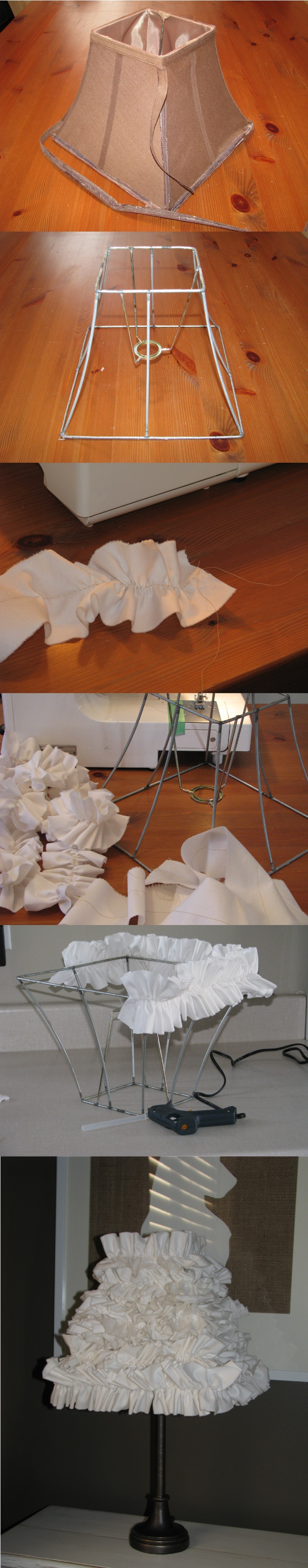 Visual tutorial on the how-to for making a ruffle lamp shade.