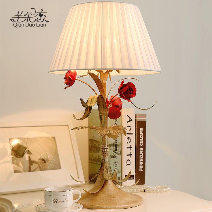 Настольная лампа в стиле кантри творческий свадьбы спальня ночники теплый декор ретро настольные лампы, кованые цветы