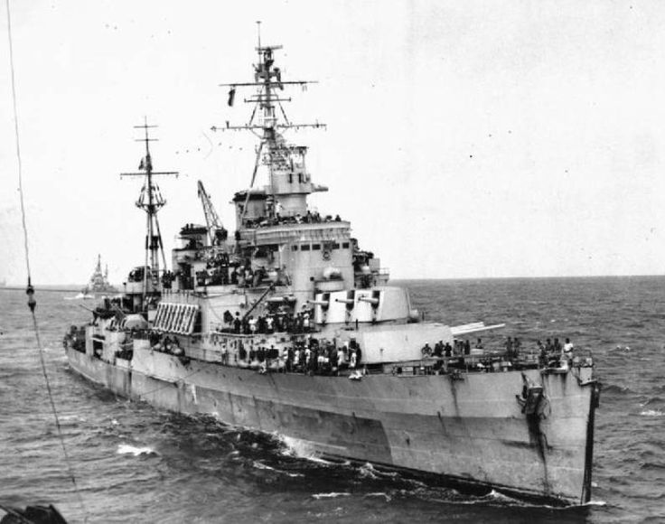 HMS Uganda, was a Second World War-era Crown Colony-class light cruiser launched in 1941. She served in the Royal Navy during 1943 and 1944, including operations in the Mediterranean, and was transferred to the Royal Canadian Navy in in October 1944. She served in the Pacific theatre in 1945 and was put into reserve in 1947. When she was reactivated for the Korean War in 1952 she was renamed HMCS Quebec.