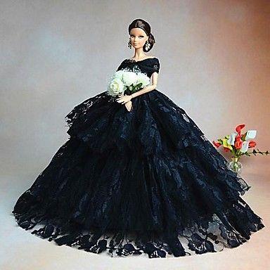 USD $ 7.99 - Barbie Doll Luxury Black Aristocrat Bride Wedding Dress, Free Shipping On All Gadgets!