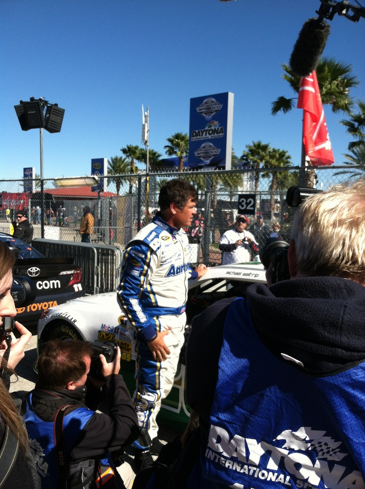 Michael Waltrip finishing qualifying at Daytona