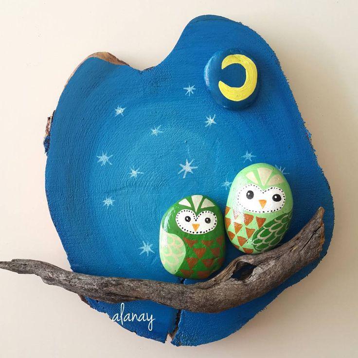 #alanay #geridönüşüm #boyama #akrilikboya #resim #stonepainting #taşboyama #painting #stone #taş #owl #baykuş #ağaç #yallos #hobi  #terapi #günaydın #goodmorning #recycling  Günaydııın
