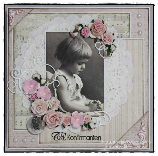 ♥ ♥ Sweet heritage childhood page with multi patterned background, clever matting and pearl embellishments ~ Jannhild's Papirhobby ♥ ♥