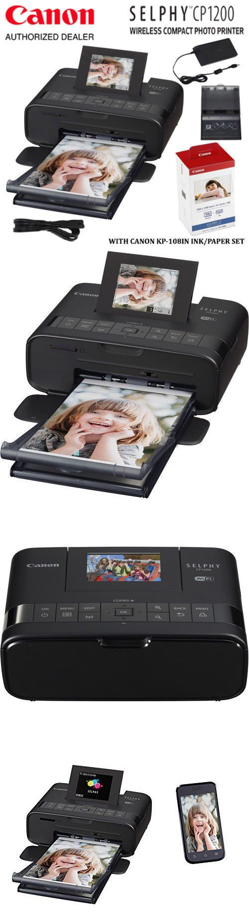 computers: Canon Selphy Cp1200 Wireless Compact Photo Printer And 108 Sheets Print Kit Bundle -> BUY IT NOW ONLY: $129.99 on eBay!