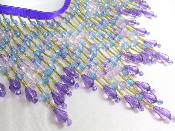 Beaded Fringe Trim in Purple Blue Turquoise Aqua by OdysseyCache