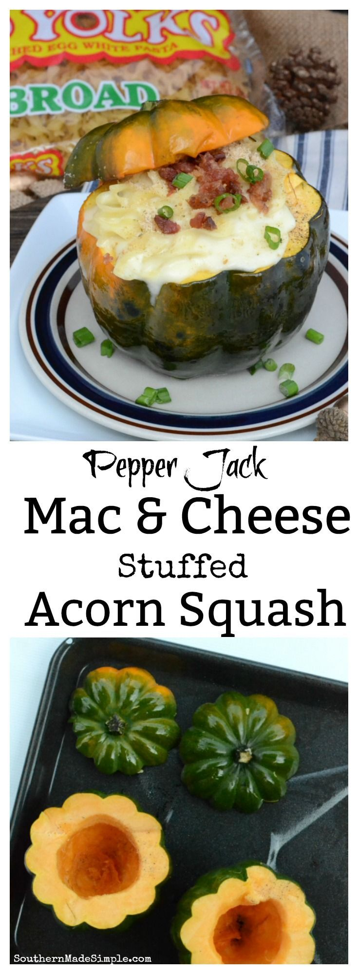 The fall season is in full swing, which means it's time to fall in love with this recipe for Pepper Jack Macaroni and Cheese Stuffed Acorn Squash! The nutty flavor of the squash paired with the creamy cheese sauce and perfectly cooked noodles makes this dish a mouthwatering treat! #ad #NoYolks #NoOtherNoodle #MC