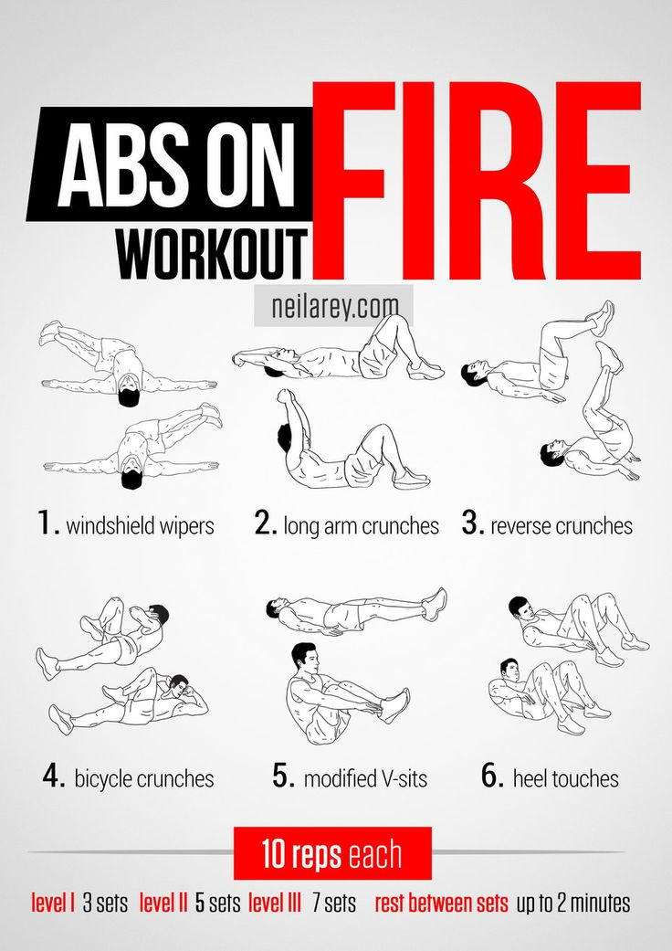 Abs on Fire Workout (core, lower abs, upper abs, obliques, legs) -- Windshield wipers, Long arm crunches, Reverse crunches, Bicycle crunches, Modified V-sits, Heel touches