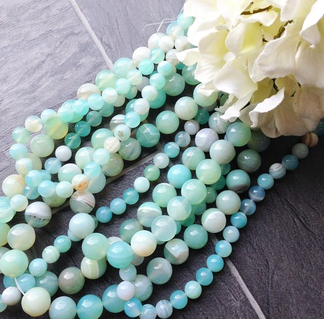 LIGHT BLUE BANDED AGATE!  Available over on www.beadhouse.co.uk