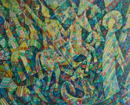 Символизм ручной работы. Ярмарка Мастеров - ручная работа. Купить Георгий Победоносец-  Победа Света над тьмой. Handmade. Комбинированный