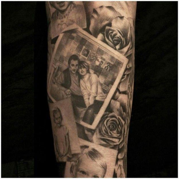 gray and black 3d portrait tattoo