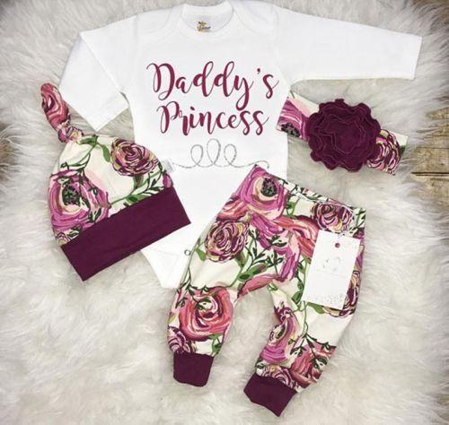 """Papa princesse"" Floral 4 Pcs Set – Petites Princesses et Chevaliers   – My precious Madeleine ❤️"