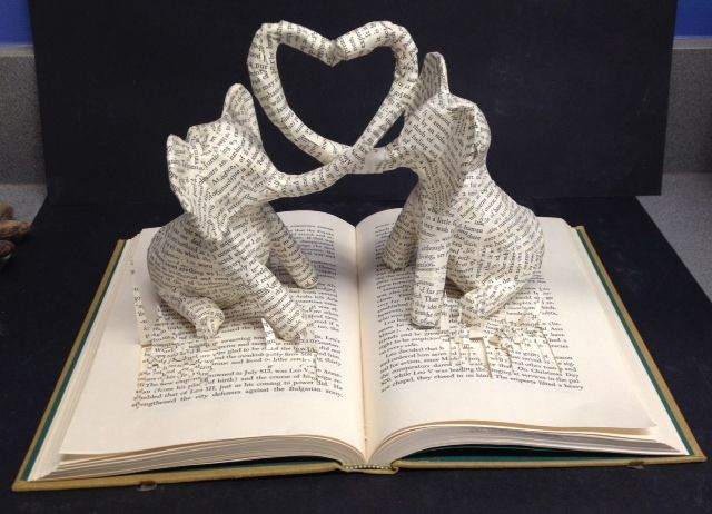 Book Sculpture using old books from the school library that were going to be recycled.
