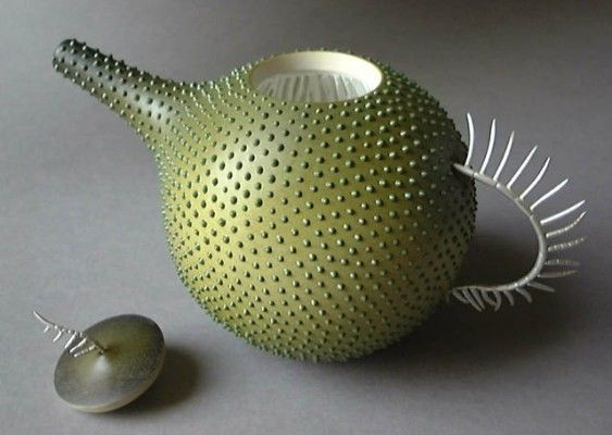 Cryptomonad (plankton) teapot - Sarah Parker Eaton & Louise Hibbert wood and metal