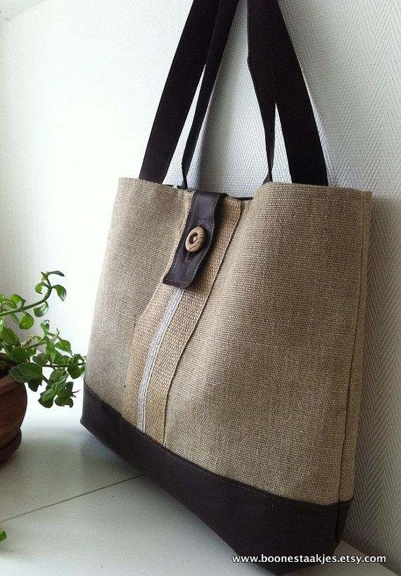 ANTONELLA  burlap tote bag shoulder bag in jute burlap and di boonestaakjes, $57.00