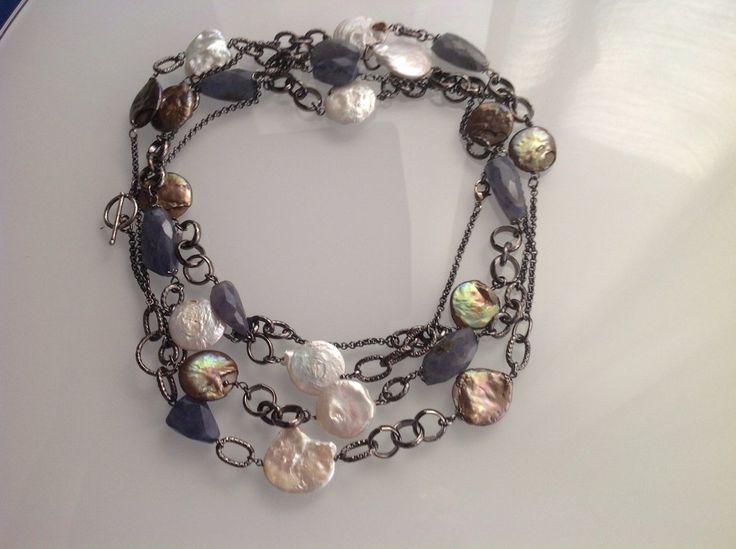 Collana multi filo brunita con perle di fiume e corindoni, by GIOBijoux, 90,00€ su misshobby.com