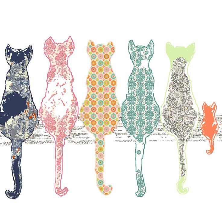 Children 39 s art cat art print baby girl nursery cat decor for Cat decorations home